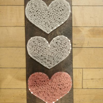 Strung on Nails String Art - 2020 Valentine - Three Hearts (Large)