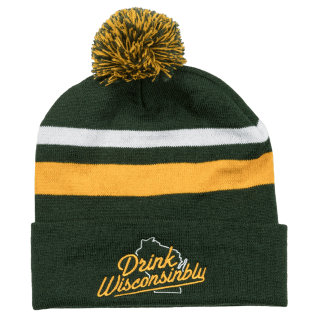 Drink Wisconsinbly Drink Wisconsinbly Green and Gold Stocking Hat