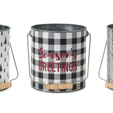 Volume One Holiday Metal Pail w/ Wood Handle (Assorted)