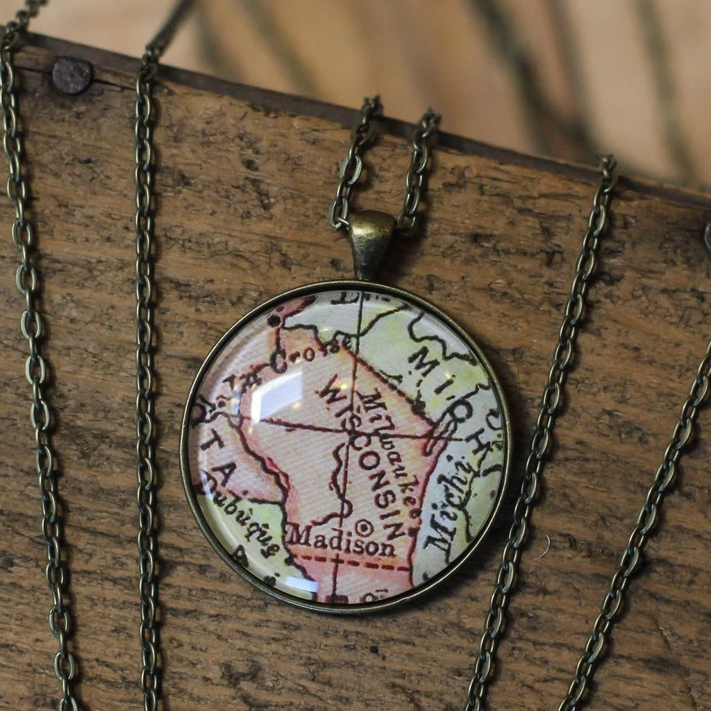 Volume One Vintage Wisconsin Map Pendant - Large