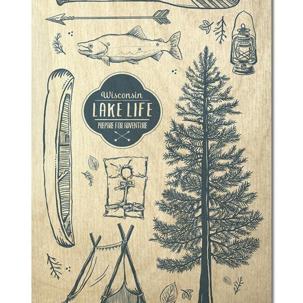 Volume One Wood Postcard - Wisconsin Lake Life