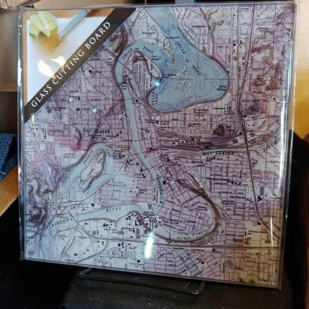 Volume One Glass Cutting Board - Eau Claire & Chippewa River