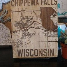 Chippewa Falls Laser Engraved Map