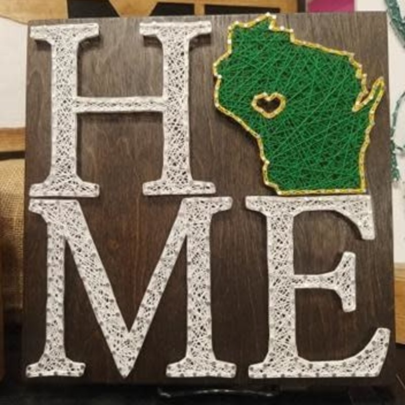 Strung on Nails String Art - WI Home w/ Heart