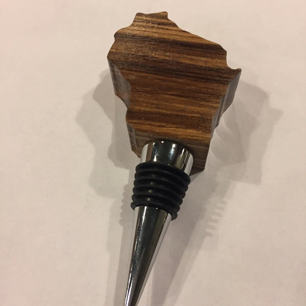 Riverside Creations and Woodworking Wood Wisconin Bottle Stopper - Zebra Wood