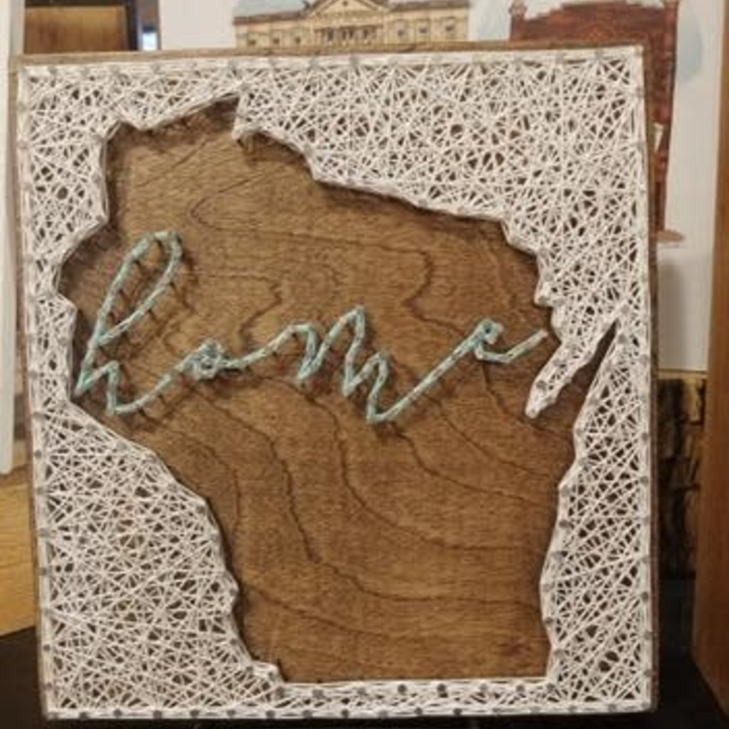 Strung on Nails String Art - WI Shape w/ Home Text