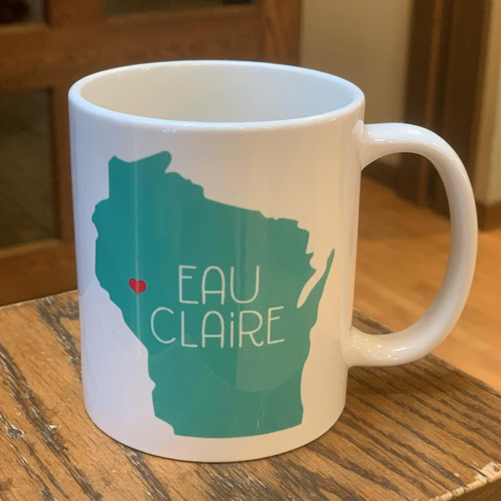 Volume One Eau Claire, WI State Mug w/ Heart (Teal)
