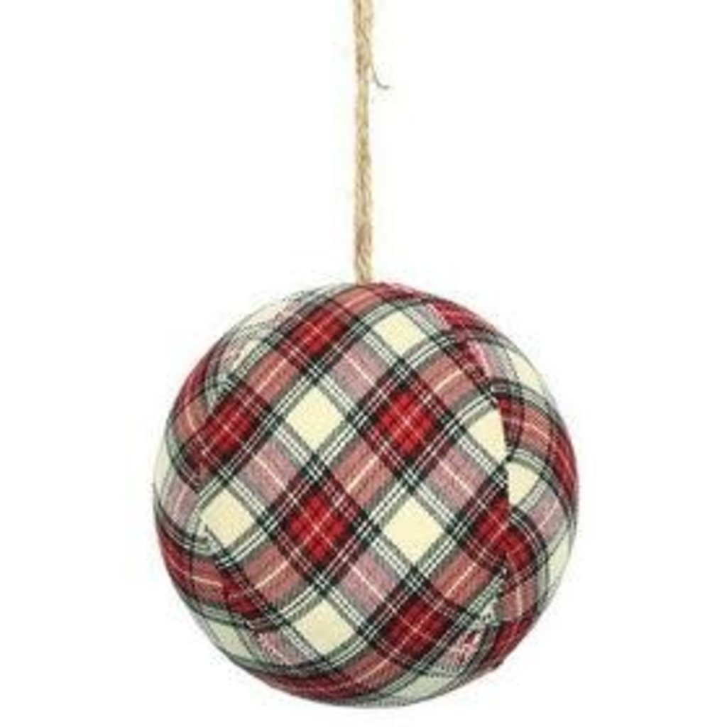 Volume One Ornament - Red/White Plaid Ball