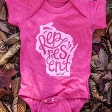 Orchard Street Apparel Wisconsin Represent Onesie - Pink