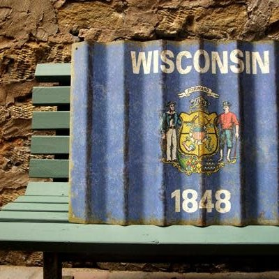 Volume One Wisconsin State Flag - Corrugated Metal Sign