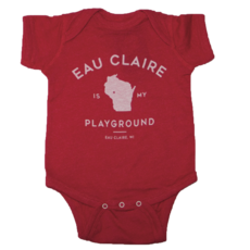 Giltee MKE Eau Claire is My Playground Red Onesie