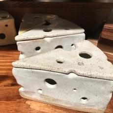 Forma Cheesy Ceramics Gruyere Cheese Wedge Porcelain Sculpture (w/ Lid)