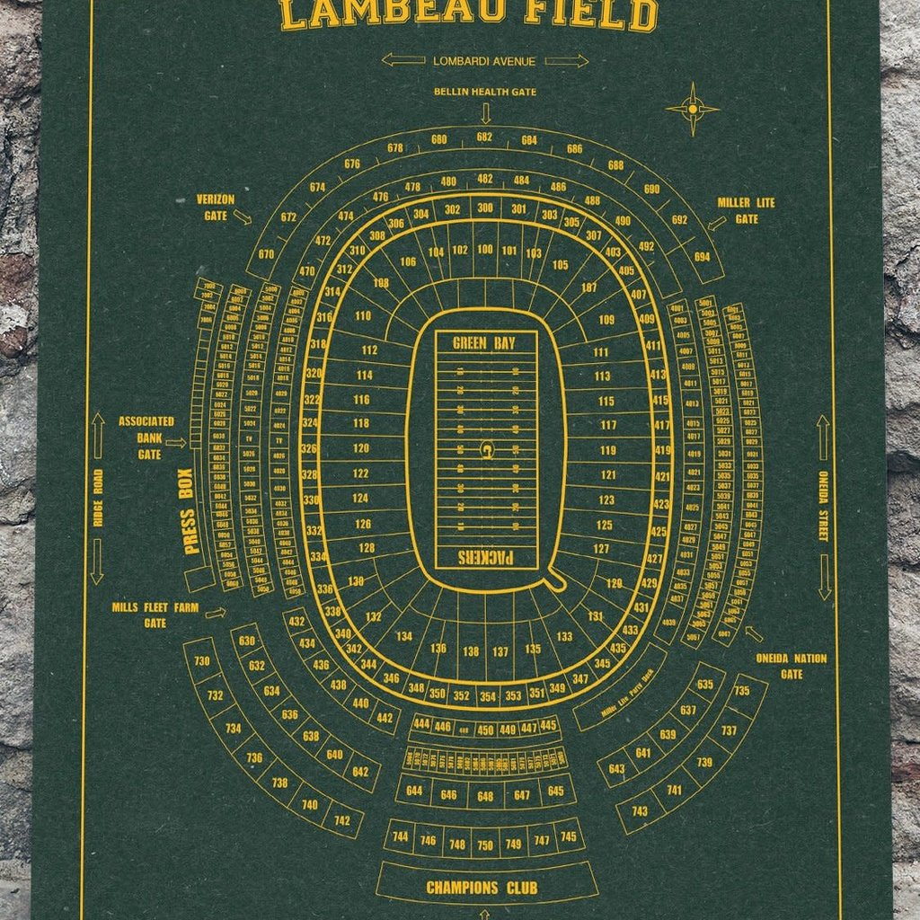 Volume One Lambeau Field Print - Green & Gold