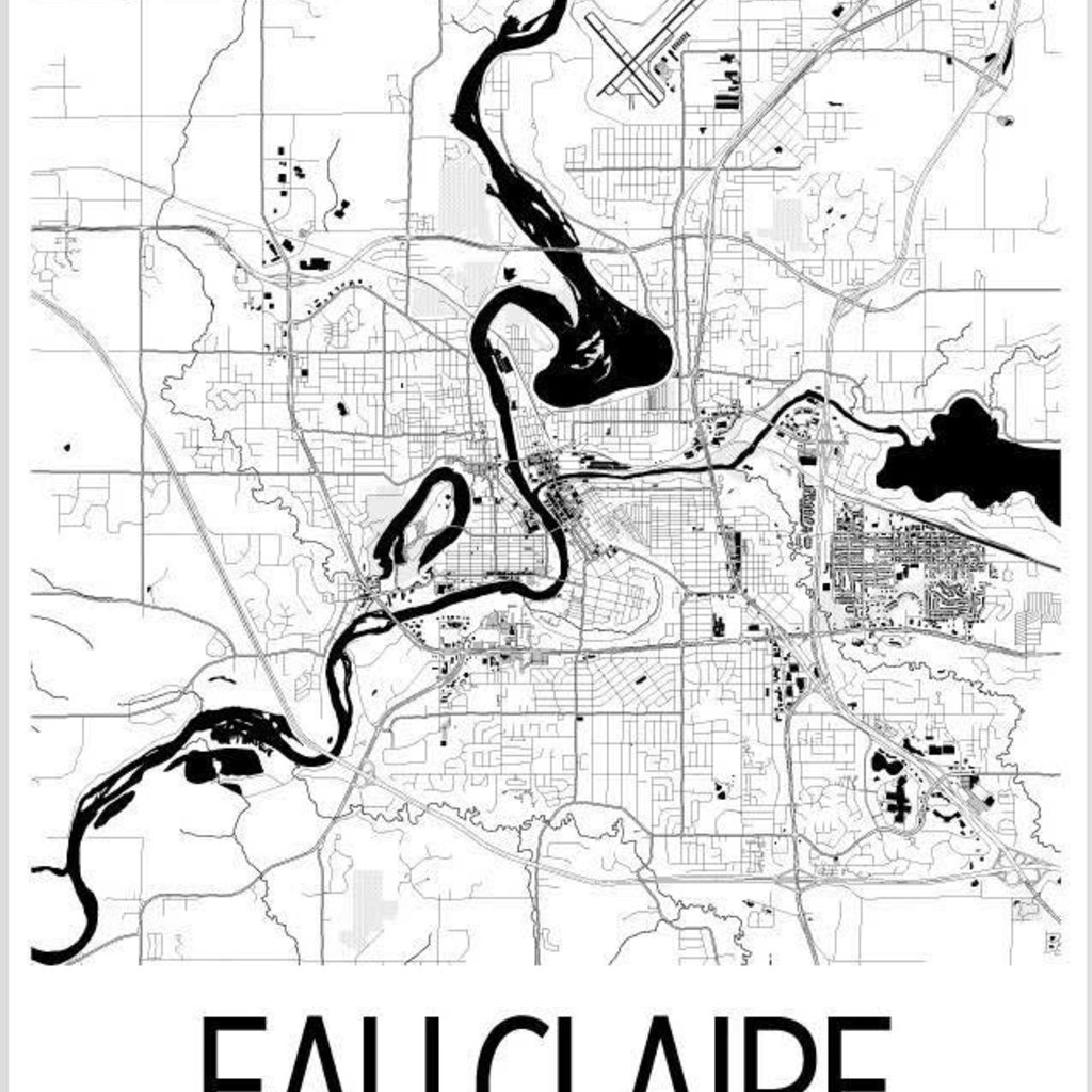 iLikeMaps Eau Claire Map Print Black White W/Foam Board - 8X10