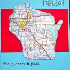 Cari Raynae Hello WI Map Greeting Card