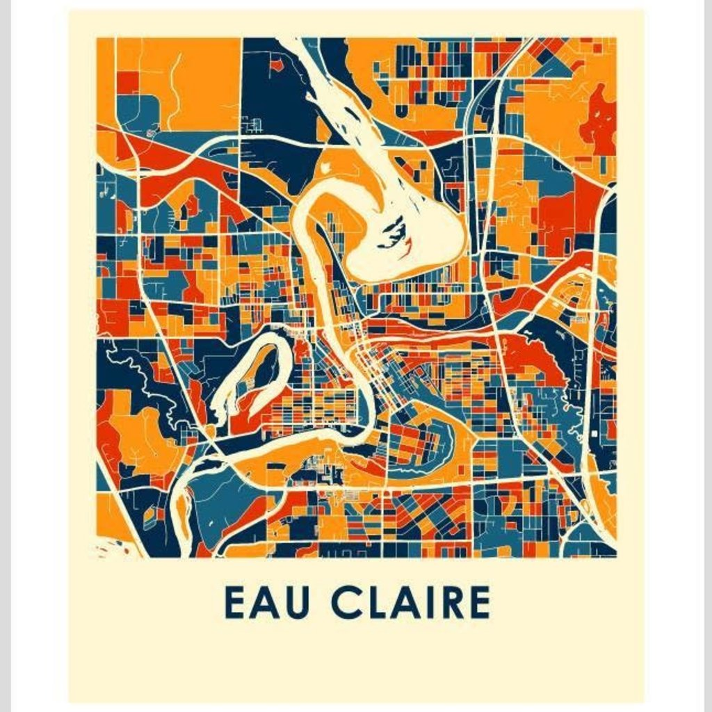iLikeMaps Eau Claire Map Print Color W/Foam Board - 8X10