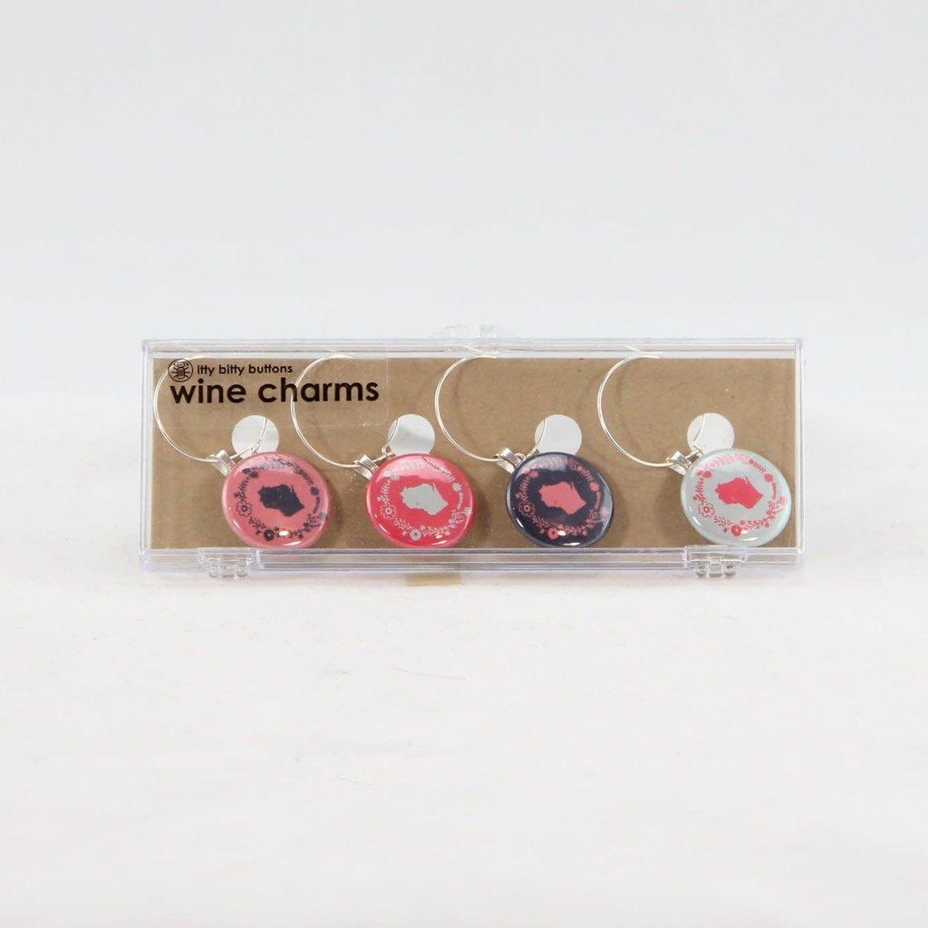 Volume One Wine Charm Set - WI Flower Design
