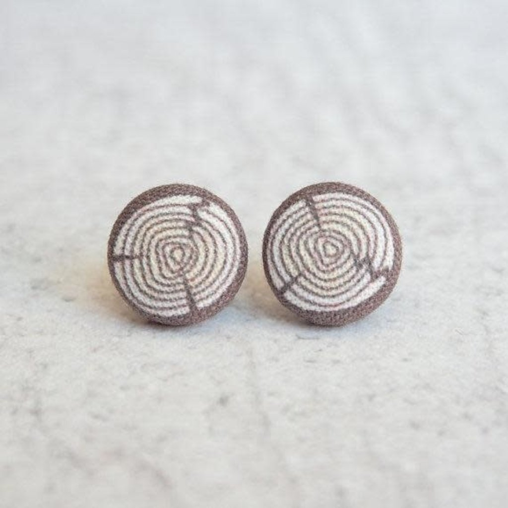 Volume One Fabric Button Earrings - Log / Wood Grain