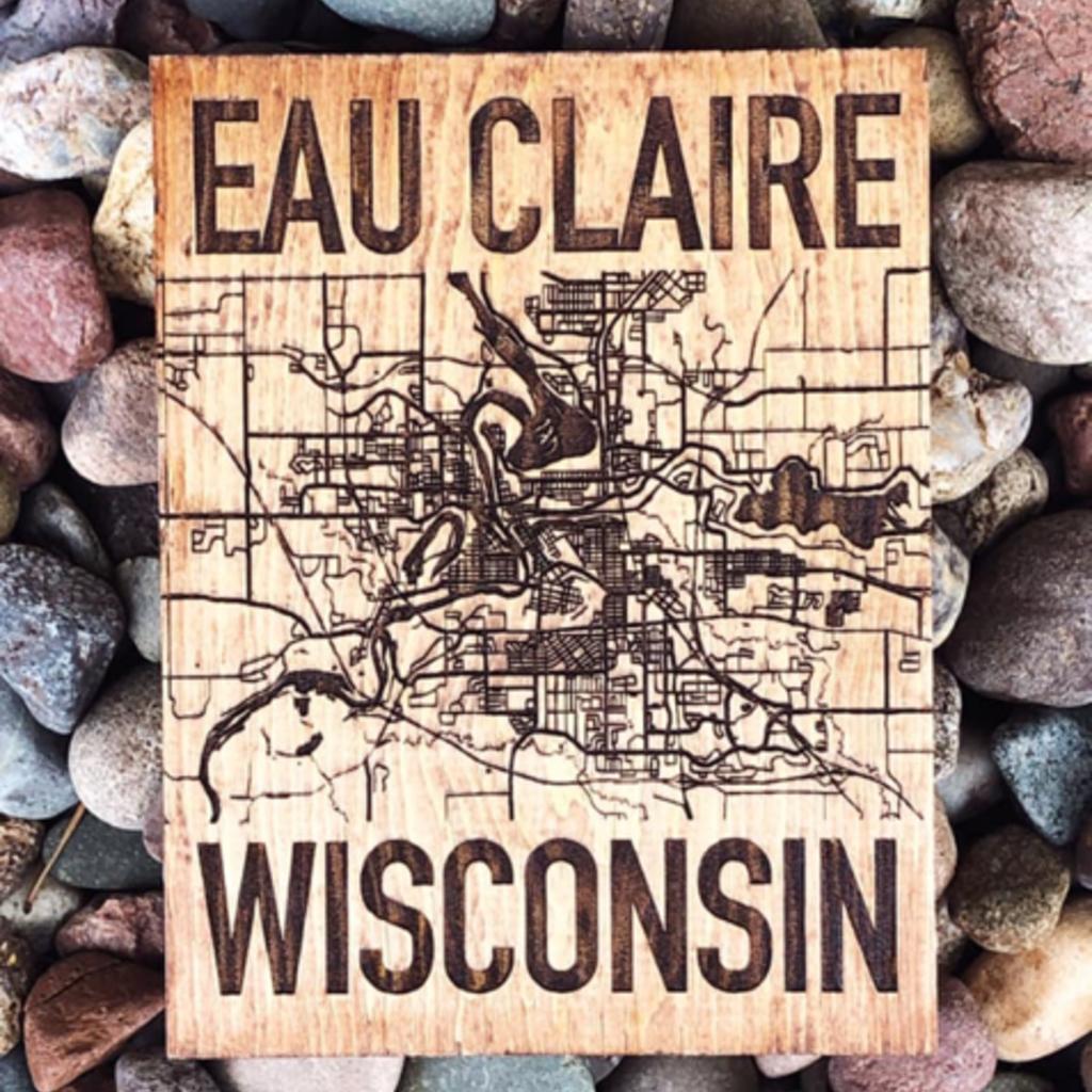 Eau Claire Laser Engraved Map