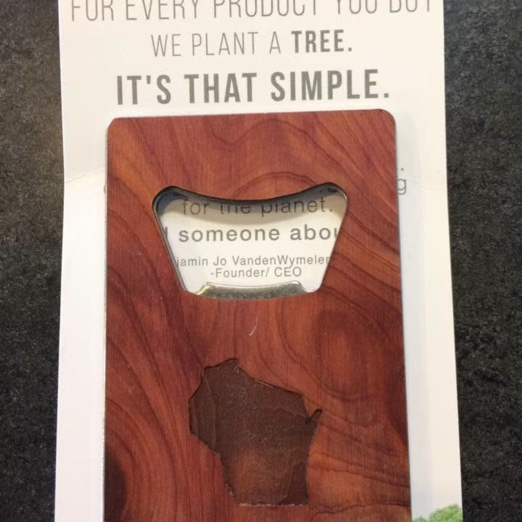 Woodchuck Wood Card Bottle Opener - Wisconsin
