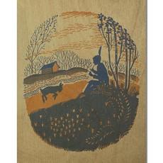 Volume One Wood Postcard - Shepherd w/ Lamb