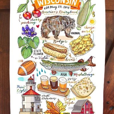 Lou Paper Wisconsin Collage Towel