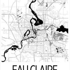 iLikeMaps Eau Claire Map Print Black White W/Foam Board - 11X14