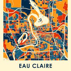 iLikeMaps Eau Claire Map Print Color  - 11X14