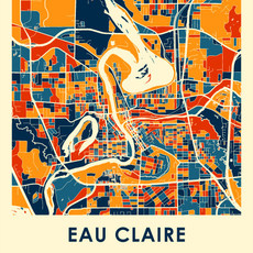 iLikeMaps Eau Claire Map Print Color W/Foam Board - 11X14