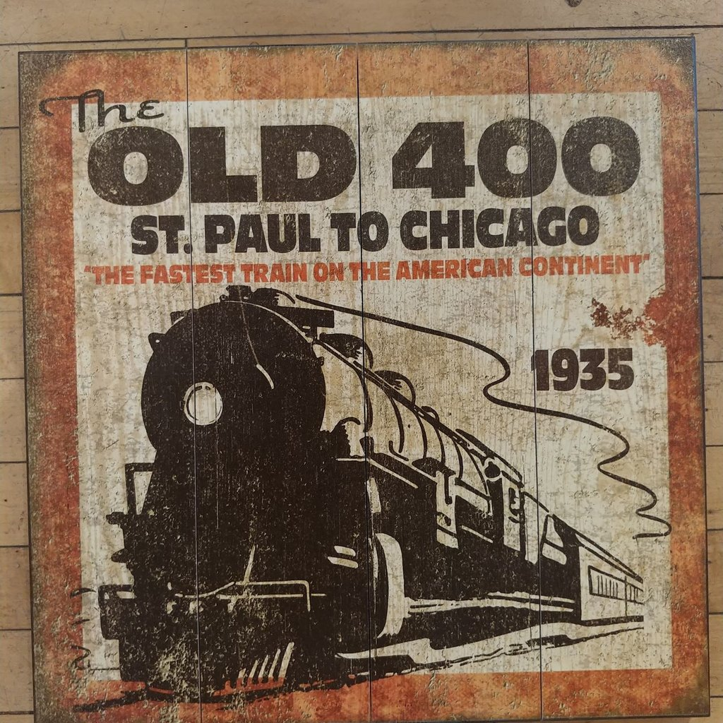 Volume One Wood Sign - Old 400 Train (18X18)