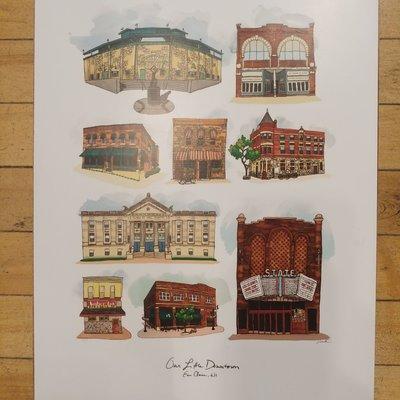 Lucius Art Wood Block Wall Art -(Our Little Downtown) 11x14