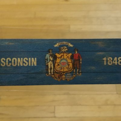 Volume One Wood Bookmark - Wisconsin Flag