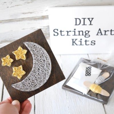 Strung on Nails DIY String Art Kit - Moon & Stars