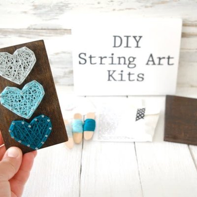 Strung on Nails DIY String Art Kit - 3 Hearts