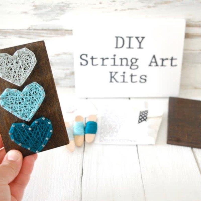 Strung on Nails DIY String Art Kit - 3 Hearts
