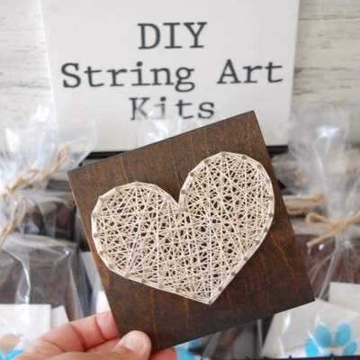 Strung on Nails DIY String Art Kit - Large Heart