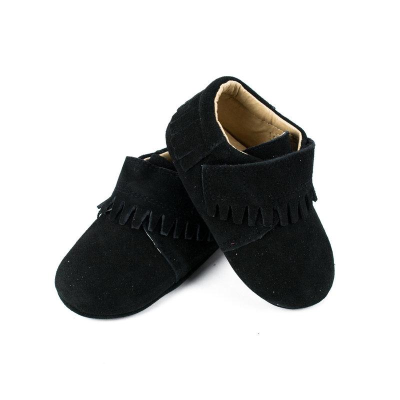 SoJo Moccs Baby Moccasins - Black Suede