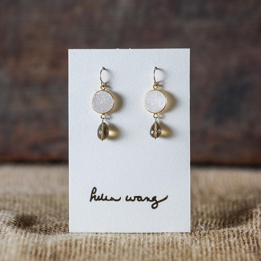 Helen Wang Jewelry Earring - Druzy Whiskey Quartz