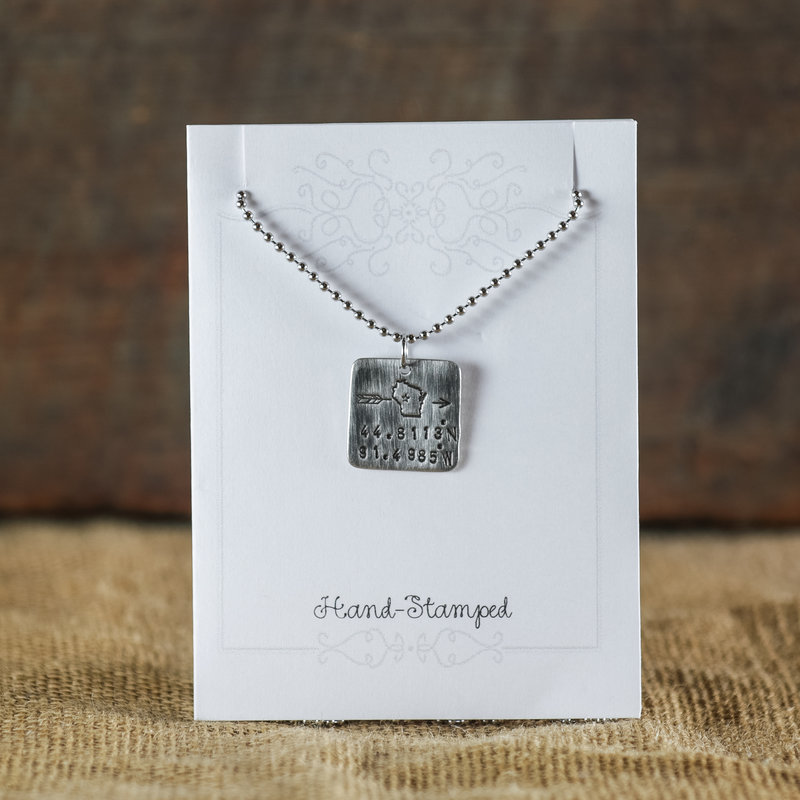 Blue Moon Studios GPS Square Pewter Necklace