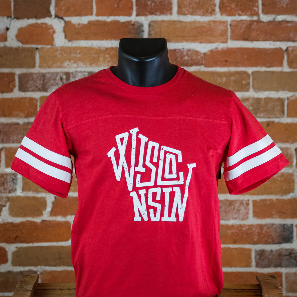 Volume One Red Wisconsin Striped Sleeve Tee