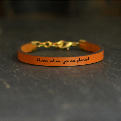 Laurel Denise LLC Leather Bracelet - Bloom Where You Are Planted