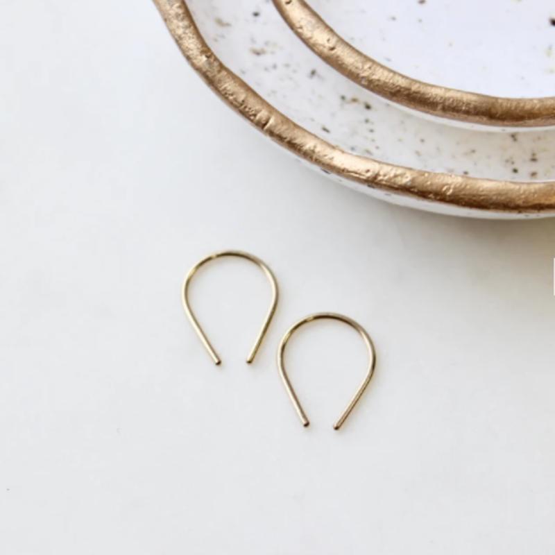 Adorn Jewelry Tiny Horseshoe Earrings (Gold)