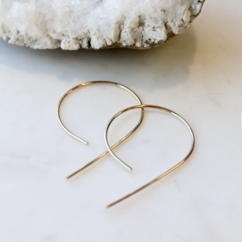 Adorn Jewelry Inverted Swoop Earrings (Silver)