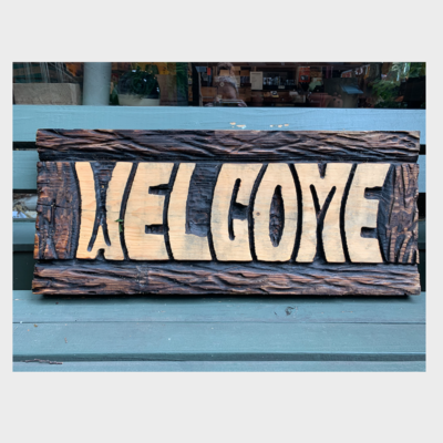 Chainsaw Carving - Wood Welcome Sign