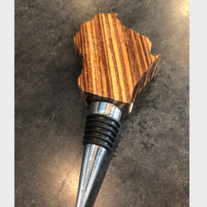 Riverside Creations and Woodworking Wisconsin Wood Bottle Stopper - Redwood
