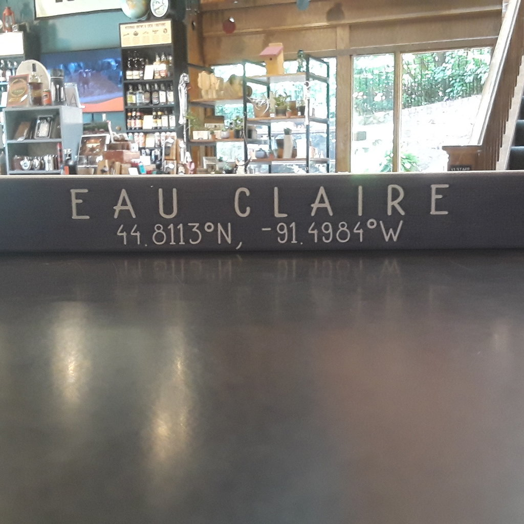 Volume One Small Wood Block Sign - Eau Claire Coordinates