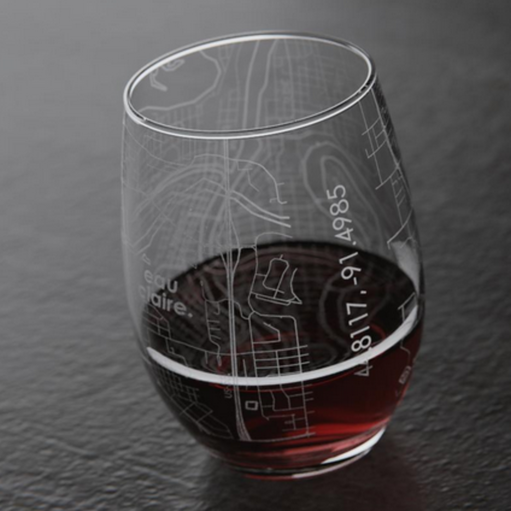 Volume One Stemless Wine Glass - Eau Claire Map