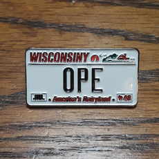 Volume One Lapel Pin - Ope License Plate