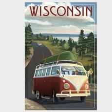 Volume One Wisconsin VW Van & Lake Print (12x18)