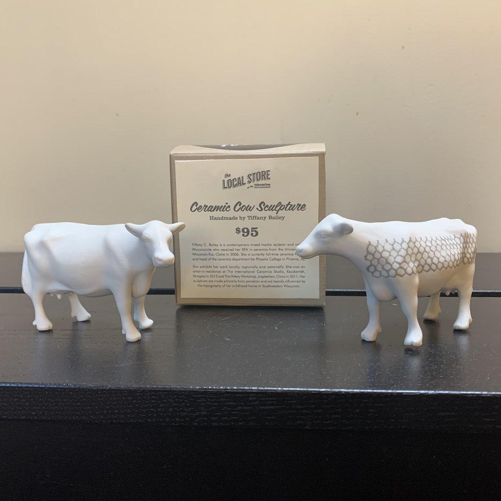 Mini Ceramic Cow Sculpture